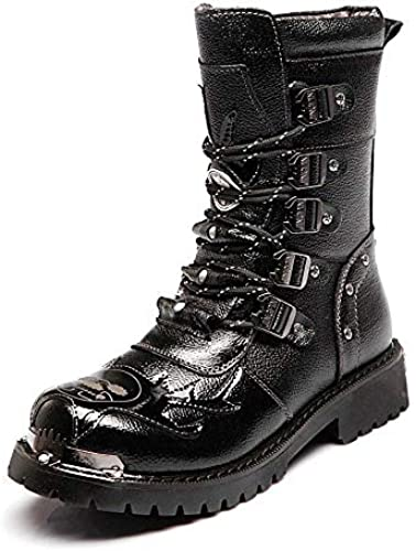Fuxitoggo Herrenschuhe Lace Up Block Leder Low Heel Mid Calf Kampfstiefel für Herren (Farbe   Schwarz Größe   44 EU) (Farbe   Schwarz Größe   37 EU)