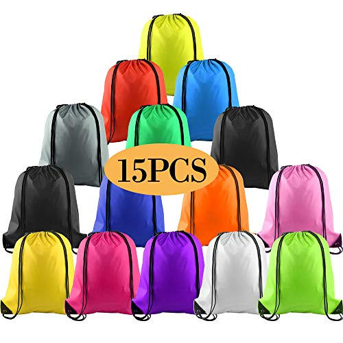 KUUQA 15Pcs Multicolor Drawstring Backpack Bags Cinch Sack Pull String Bags Bulk Christmas Gift Bags for School Sport Gym Yoga Traveling