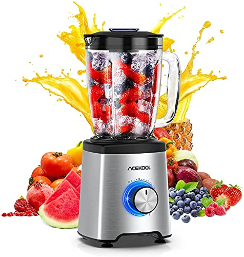 Acekool Smoothie Maker Blender 800 W Smoothie Blender 21000 rpm 2000 ml Container BPA- 6 Stainless Steel Blades Blender Glass 5 Speed Levels Dishwasher Safe [Energy Class A+++]