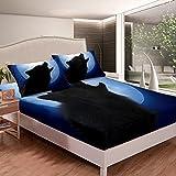 Wolf - Juego de sábanas de cama con estampado de lobo de safari negro para niños y niñas, juego de sábanas de animales 3D con 2 fundas de almohada para cama doble