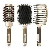 Juego de cepillos para el cabello, cepillo de paleta antiestático, cepillo redondo de cerdas de jabalí, cepillo para el cabello ventilado para secar, fino y rizado en hombres y mujeres