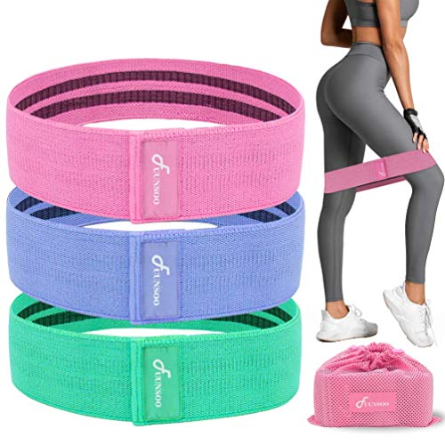FUUNSOO Fabric Resistance Bands for Legs and Butt, Booty Training Bands Non-Slip Loop Exercise Bands for Squat Glute Hip Pack of 3 Same Length Difference Resistance Level