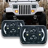 LLPTA Set of 2 7x6 7'x6' Inch Square Sealed Beam Conversion Kit LED Halo Angel Eye Projector Headlights Assembly Amber Turn Signal White High/Low Beam DRL Daytime Running Lights+H4-3-Prong Adaptors