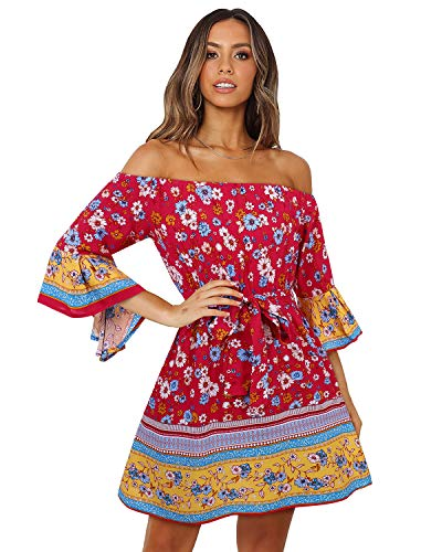 SOLERSUN Mini Dress for Women Summer, Women's Summer Boho Off Shoulder Floral Print Short Bell Sleeve Sundress High Waist Tube Top Wedding Mini Dresses with Belt 3/4 Sleeve-Red S