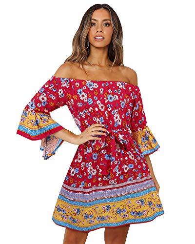 SOLERSUN Red Boho Dresses for Women, Women's Summer Boho Off Shoulder Floral Print Short Bell Sleeve Sundress High Waist Tube Top Wedding Mini Dresses with Belt 3/4 Sleeve-Red L