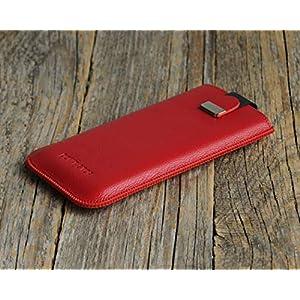 Case Leder Hülle Tasche für iPhone, Etui Cover personalisiert durch Prägung mit ihrem Namen, Monogramm
