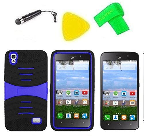 Heavy Duty Hybrid Phone Cover Case + Screen Protector + Extreme Band + Stylus Pen + Pry Tool For Straight Talk Tracfone NET10 Huawei Pronto LTE H891L / Ascend SnapTo G620-A2 LTE (S-Hybrid Black Blue)