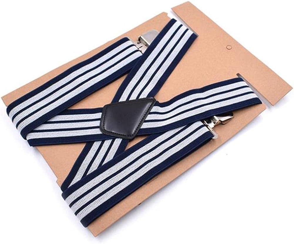 Suspenders Men'S Braces Wide 5Cm Navy Striped 125Cm Big Strap Man For Pants Finger 4 Clips