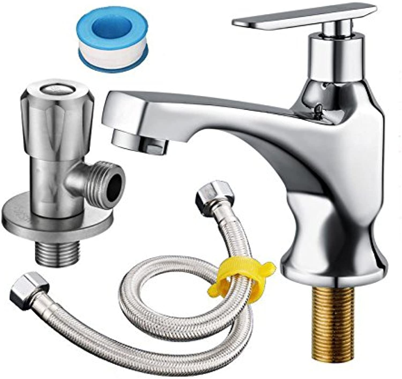 LHbox Basin Mixer Tap Bathroom Sink Faucet All copper single cold basin faucet E)