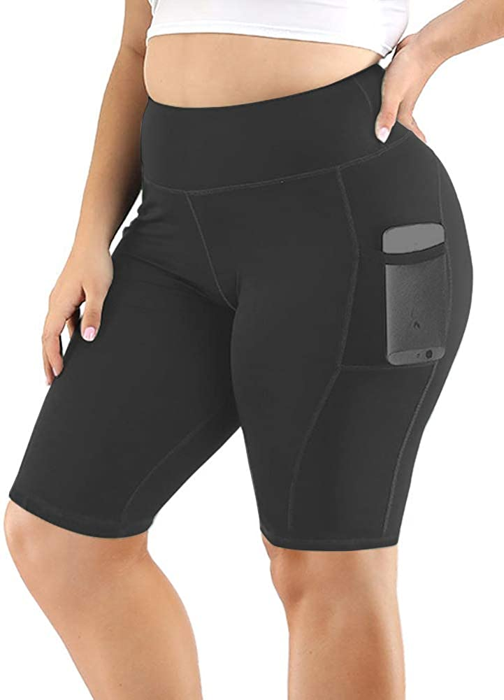 Uoohal Women's Branded goods Yoga Shorts Plus Size High Directly managed store Workout Ac Biker Waist