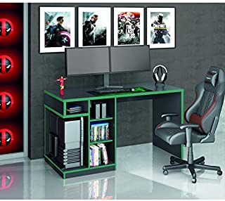 Mesa Gamer IDL XP 5k00 Siena Móveis Preto/Verde