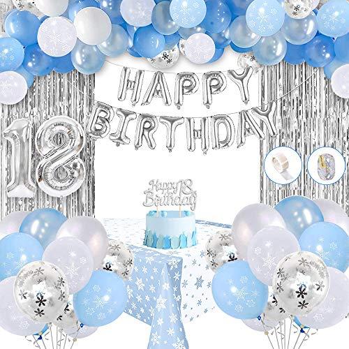SPECOOL 18 Geburtstag Deko, 18 Anzahl Luftballons, Tortenauflagen, Quasten, Tischdecke, Blau & Weiß & Konfetti Latex Luftballons für Mädchen Geburtstag Dekorationen