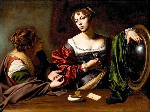 Posterlounge Cuadro de metacrilato 70 x 50 cm: Martha and Mary Magdalene de Michelangelo Merisi (Caravaggio)