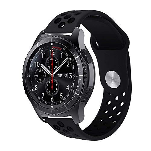 Gear S3 Armband, Silikon Sport Uhrenarmband mit Belüftungslöchern für Samsung Gear S3 Frontier/Classic, Moto 360 2nd Gen Men's 46mm (Silikon - Schwarz/Schwarz)