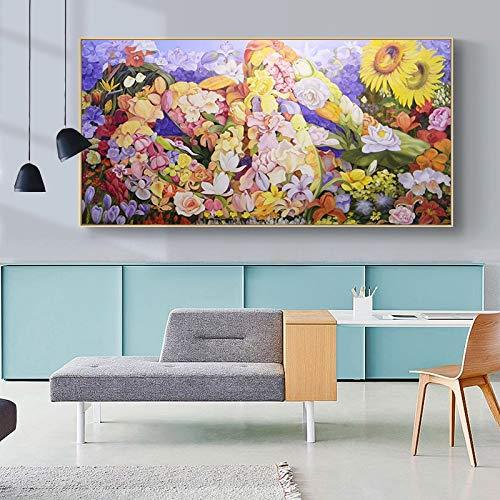 Kreative Moderne abstrakte Blütenblatt Mädchen Zimmer Kinder Wandkunst Poster und Druck Wandbild Dekoration,Rahmenlose Malerei,60x120cm