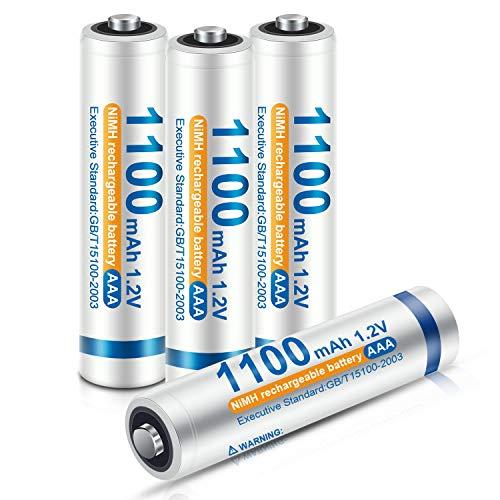 iEGrow Micro AAA Akku 1100mAh - 1.2V NI-MH Akkubatterien, geringe Selbstentladung, 4 Stück AAA Batterien Wiederaufladbar