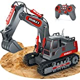 DOUBLE E Remote Control Excavator Toy 11 Channel Full Functional Hydraulic 16 Inches RC Excavator with Sounds Construction Toys for Girls Boys Kids