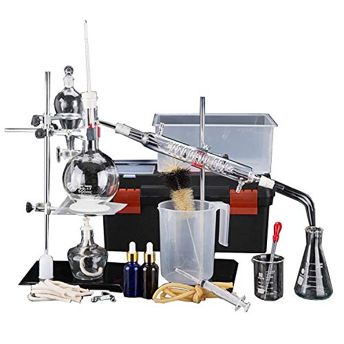 Laboratorio chimico Distillazione Unità Purificazione Raffinato Set di oli da laboratorio Vetreria Olio essenziale Distillatore Depuratore d'acqua Con cassetta degli attrezzi Serpentine Condensatore