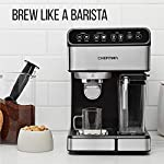 Chefman 6-in-1 Espresso Maker, Powerful 15-Bar Pump, Brew Single or Double Shot, Built-In Milk Froth for Cappuccino… 13 MAKE YOUR KITCHEN A CAFE: Bring the energizing taste of coffeehouse brews into your home with the gourmet Chefman Espresso Maker! With a powerful 15-bar pump and a built-in milk frothing mechanism, you'll be able to brew like a barista every morning. UPGRADE YOUR COFFEE: This 6-in-1 coffee machine creates all of your favorite high-quality coffee beverages right in your kitchen. Enjoy single or double shots of espresso, cappuccinos, lattes, and more with the integrated frothing system. Ditch your old coffee pot, get the upgrade you've been craving. BREW WITH EASE: While your morning cup of joe might be more complex with the Espresso Machine, your brewing process will be easier than ever. With simple one-touch operation, you can brew and froth your perfect cup. Plus, with the XL 1.8 Liter water container, you can forget about daily refills.