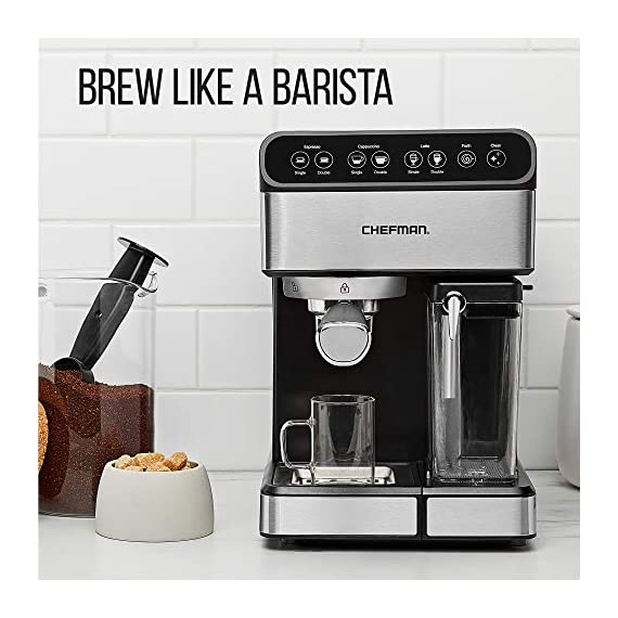 Chefman 6-in-1 Espresso Maker, Powerful 15-Bar Pump, Brew Single or Double Shot, Built-In Milk Froth for Cappuccino… 6 MAKE YOUR KITCHEN A CAFE: Bring the energizing taste of coffeehouse brews into your home with the gourmet Chefman Espresso Maker! With a powerful 15-bar pump and a built-in milk frothing mechanism, you'll be able to brew like a barista every morning. UPGRADE YOUR COFFEE: This 6-in-1 coffee machine creates all of your favorite high-quality coffee beverages right in your kitchen. Enjoy single or double shots of espresso, cappuccinos, lattes, and more with the integrated frothing system. Ditch your old coffee pot, get the upgrade you've been craving. BREW WITH EASE: While your morning cup of joe might be more complex with the Espresso Machine, your brewing process will be easier than ever. With simple one-touch operation, you can brew and froth your perfect cup. Plus, with the XL 1.8 Liter water container, you can forget about daily refills.