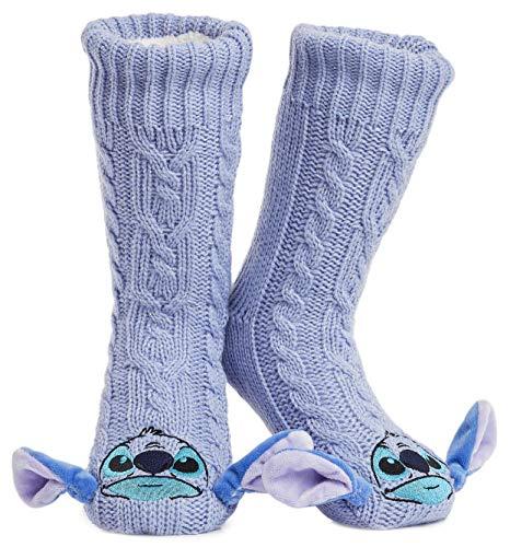 Disney Mickey Minnie Winter Socken, Kuschelsocken Damen Mädchen Warm Ultra-Bequeme Hausschuhsocken Antirutsch Flauschigem Sherpa-Futter, Tolles Geschenk für Mama (Stitch)