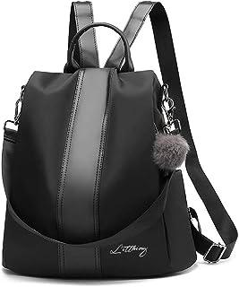Damen Rucksack Kapazität 20-35L Moderne Daypack PU Oxford Tuch geeignet für Freizeit Reise Party Schule Wasserdicht und Anti-Diebstahl Schultasche Schwarz Verbesserte Version
