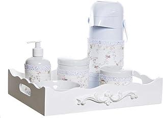 Kit Higiene Resina Arabesco com Porta Álcool-Gel e Capa, Quarto Bebê Infantil Menina, Poti