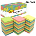 Sticky Notes 3x3, Self-Stick Notes, 36 Pads, 100 Sheets/Pad, Assorted Colors Stickies for Study, Works, Daily Life (36)
