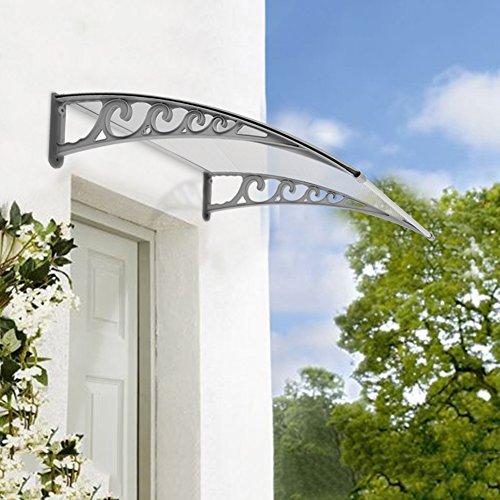Pensilina Tettoia per Porta, in Alluminio, Tenda da Veranda Pensilina, per Porta o Finestra per Esterno, Disponibili in Diverse Misure (80 x 120 CM)