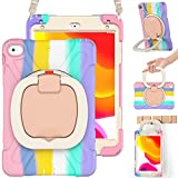 BRAECN iPad Mini Case 5th Generation, iPad Mini 4 Case for Kids, Silicone Hard Back Case with Multi-Functional Grip, Shoulder Strap, Kickstand, Pencil Holder for iPad Mini 5/4 Gen 7.9'' -Colorful Pink