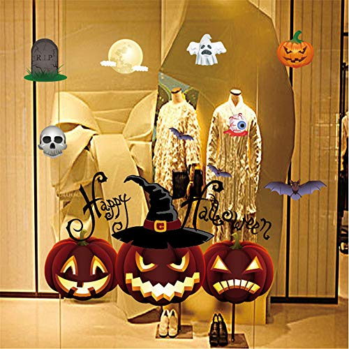 Sayla Halloween Wandtattoo Aufkleber Halloween Fenster Sticker Fensterbild Statisch Wandaufkleber Party Dekoration Wandgemälde Dekor Wandbild