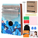 SKONHED Kalimba Thumb Piano 17 Keys Painted Wooden Portable musical instruments Mbira Finger Piano Gifts for Kids and piano Beginners Professional (Blue Animal)