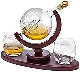 ZKHD Whisky Decanter Set World Etched Globe Decanter Antiguo Barco Gafas Tongs Bar Funnel Tapón Licor Dispensador Espíritu Scotch Bourbon Vodka Rum Vino Tequila Brandy 900 Ml