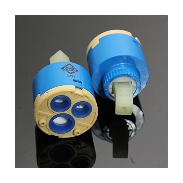 Cartucho de cerámica para válvula de grifo monomando (agua caliente y fría); 2 unidades de 40 mm