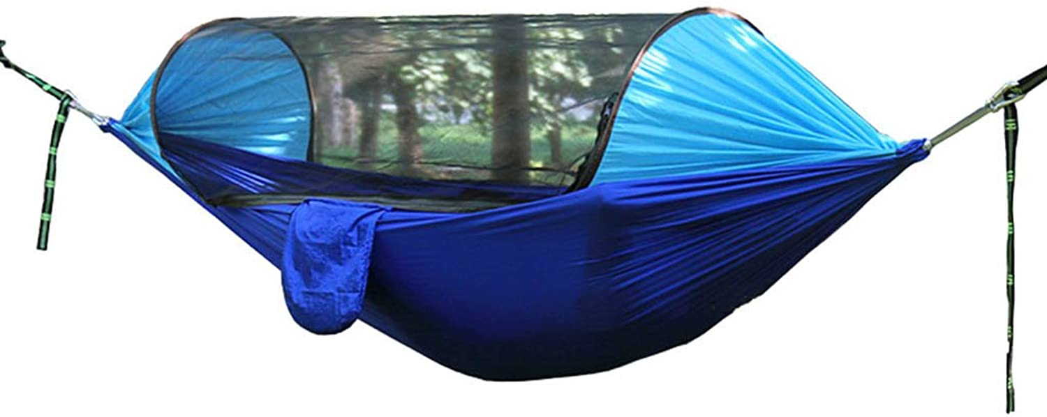 AINIYF Camping Hammock with Mosquito Net, Camping Hammock Portable UltraLight Double Parachute Hammocks Hiking, Travel, Cycling,Backpacking, Beach, Yard (color   blueee, Size   290  145cm)