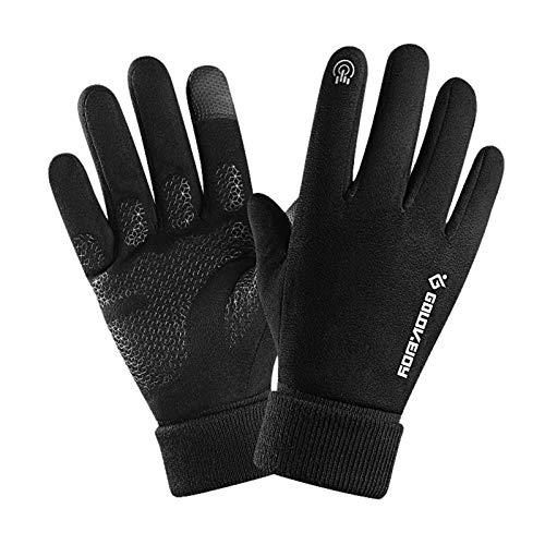 Handschuhe Herbst-und Winter Vollfingerhandschuhe halten den Touchscreen für Damen und Herren, Fahrradhandschuhe rutschfest und samtleicht beim Bergsteigen wasserdichte Windschutzhandschuhe