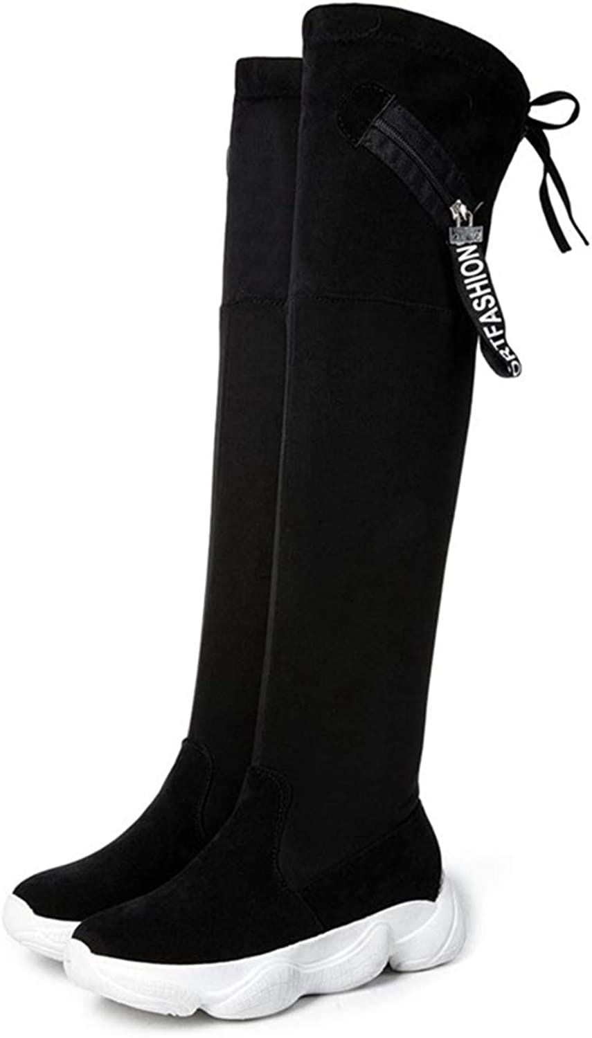 T-JULY Women Winter Over The Knee Snow Boots Warm Casual Slip-on Thigh High Heels shoes