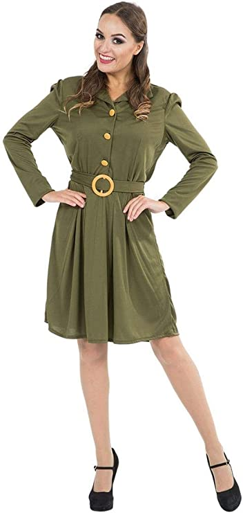 1940s Costumes- WWII, Nurse, Pinup, Rosie the Riveter Orion Costumes Womens 1940s World War Army Fancy Dress 40s Wartime Outfit Green  AT vintagedancer.com
