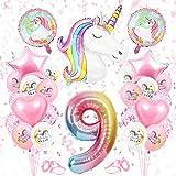 Globos Numeros Gigantes Unicornio 9, Decoración de Cumpleaños 9 en Rosado, Decoracion Unicornio, Globos de Cumpleãnos Unicornio 9,Globo Numero Unicornio 9, para Niñas