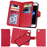 soundmae iPhone 6S/6 Wallet Case, Magnetic Detachable Premium PU Leather Wallet Case, 2in1 Removable Protective Flip Cover with Card Slot Cash Pocket Photo Frame and Wrist Strap [Red]