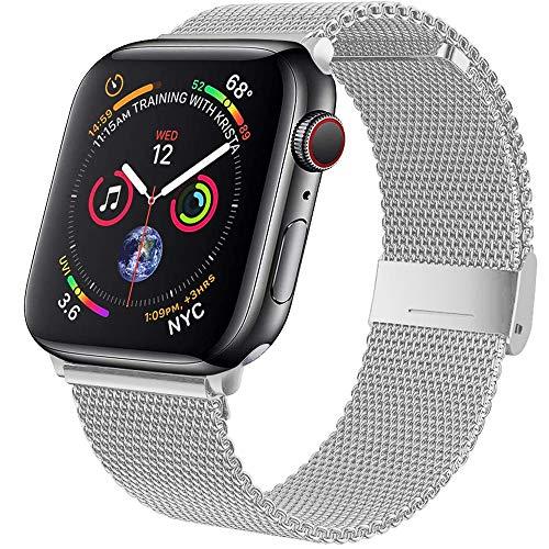 Wiselead Ersatzarmband kompatibel mit Apple Watch Armband 42mm 44mm, Edelstahl Metall Armband kompatibel mit iWatch Series 6/5/4/3/2/1/SE - Silber