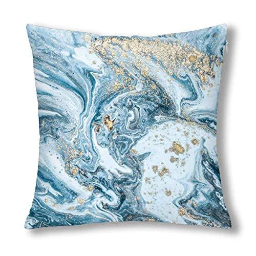 GOSMAO Funda de Almohada Decorativa de Arte marmoleado Tradicional Abstracto de Piedra Azul Blanca Funda de Almohada de 18x18 Pulgadas, Protector Decorativo de Funda de Almohada