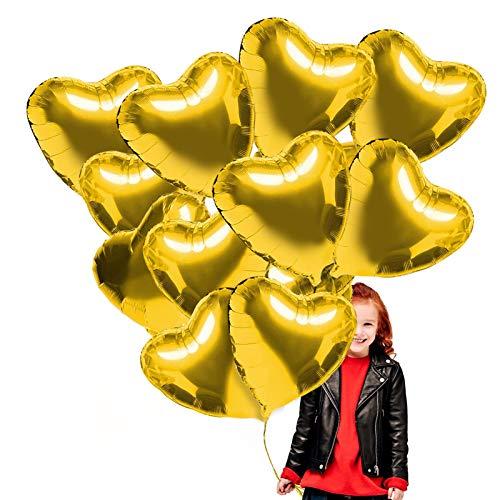 Sunshine smile 20 STK Gold Herz Folienballon, 18 Zoll Herz Helium Luftballons, Folienballon Hochzeit, Folienluftballon, Herz Ballons