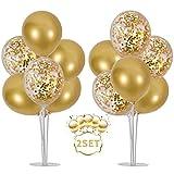 Balloon - Soporte de mesa transparente,Globos Claros Soporte Holder con 16 Globos,para globos de fiesta de cumpleaños y decoración de boda (oro)