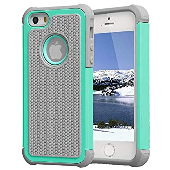 AGRIGLE Shock- Absorption/High Impact Resistant Hybrid Dual Layer Armor Defender Full Body Protective Cover Case Compatible with iPhone 5/5S/SE 2016 Gray/Green