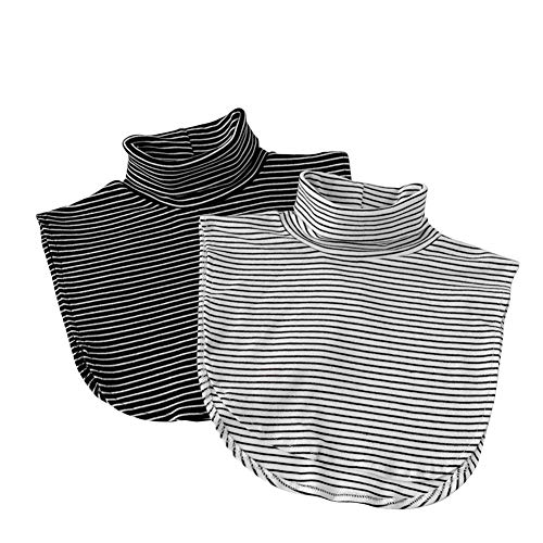 Joyci 2 Pack Solid Stripe Turtleneck Dickey Collar Wear Outer or in Sweater Hoodie High Neck Mock Collar (Black White Stripe)