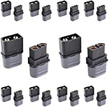 SoloGood Amass XT60H Bullet Connector Plug Upgrated of XT60 Plug Sheath Female & Male Black Plated for RC Parts Lipo Battery(20 Pairs) …