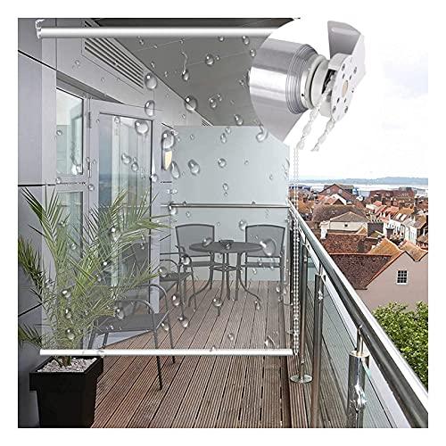 RZEMIN Tende a Rullo PVC Trasparente, Tenda Avvolgibile Impermeabile Alzabile con Tiranti Laterali, Tende Antivento Balcone Divisorio Impieghi Gravosi Esterno (Color : Chiaro, Size : 120cmx110cm)