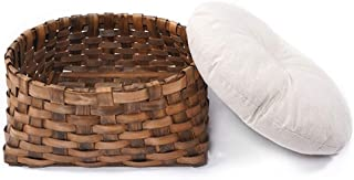 Mopoq Handmade Wicker Basket Cat Bed Cave Dog House Rattan Furniture Nest Perfect Kitten Gift With Cushions And Pads