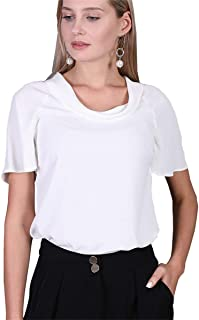 Women's Cowl Neck Tops Loose Causal Short Sleeve Chiffon...